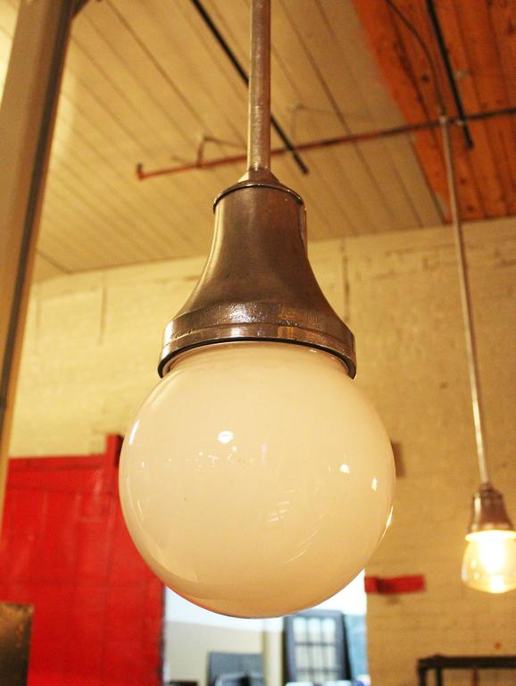 Steel Industrial Pendant Light, Lamp Cast Iron Glass Globe Ceiling Hanging  For Sale