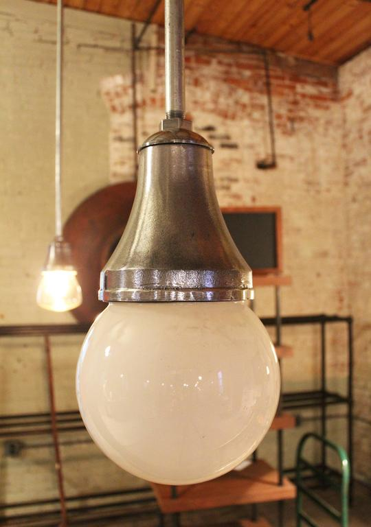 Industrial Pendant Light, Lamp Cast Iron Glass Globe Ceiling Hanging  For Sale 1