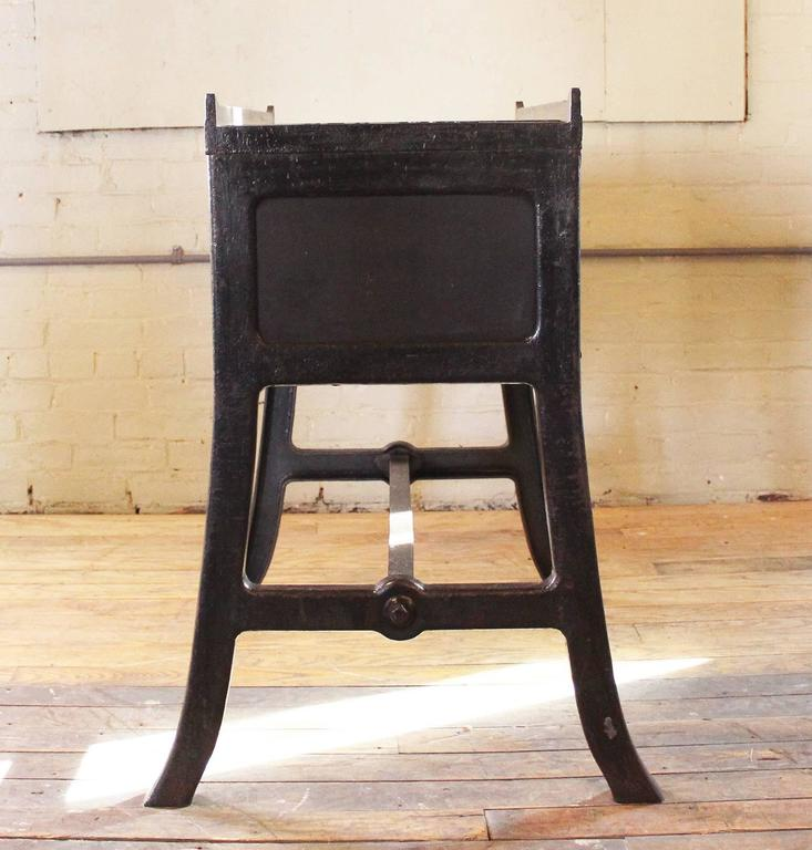"""Vintage Industrial Wood & Cast Iron Printers Proof Table Stand """"New York"""" 3"""