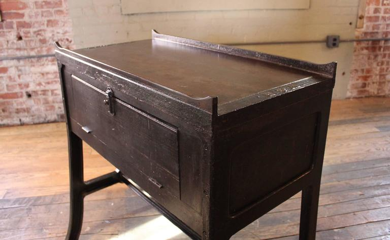 """Vintage Industrial Wood & Cast Iron Printers Proof Table Stand """"New York"""" 5"""