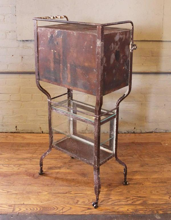 American Vintage Rusted Painted Metal And Gl Medical Cabinet Stand Or Cart For
