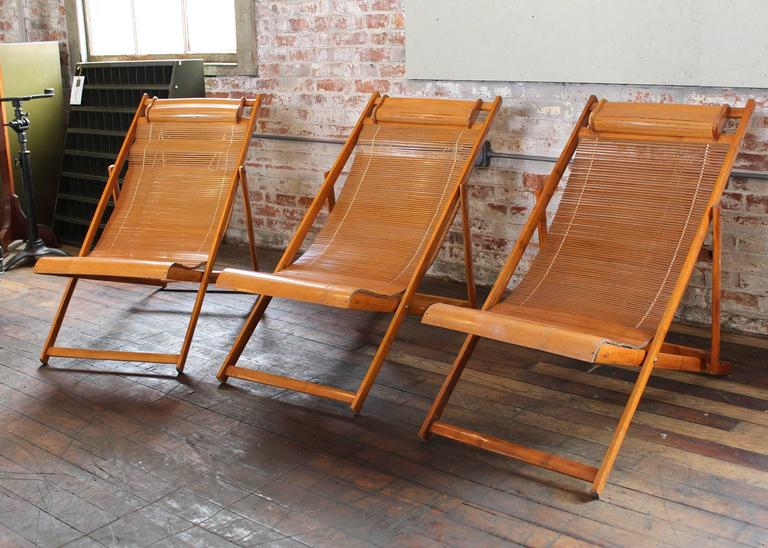 Vintage Bamboo Wood Japanese Deck Chairs Loungers Outdoor Fold Up Lounge Cha