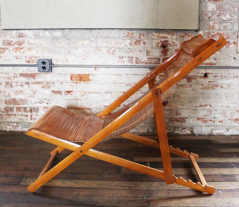 Vintage Bamboo Wood Japanese Deck Chairs Loungers Outdoor