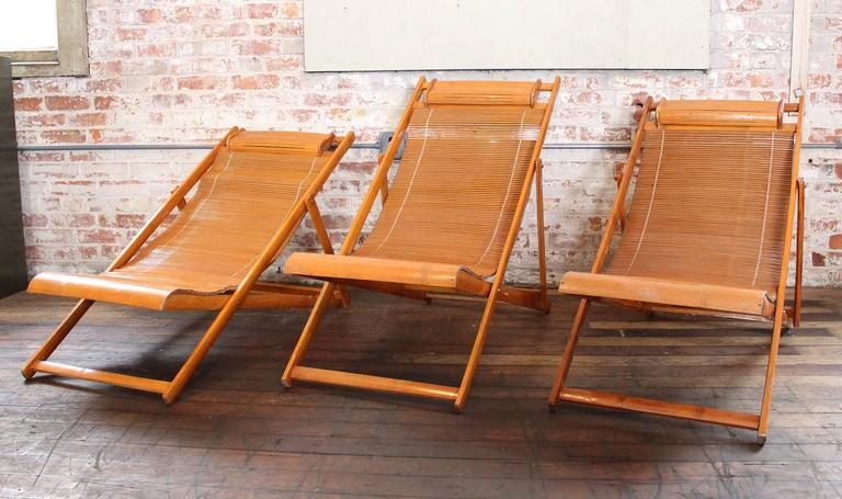 Vintage Bamboo Loungers Wood Japanese Deck Chairs, Outdoor Fold Up Lounge  Chairs For Sale 3