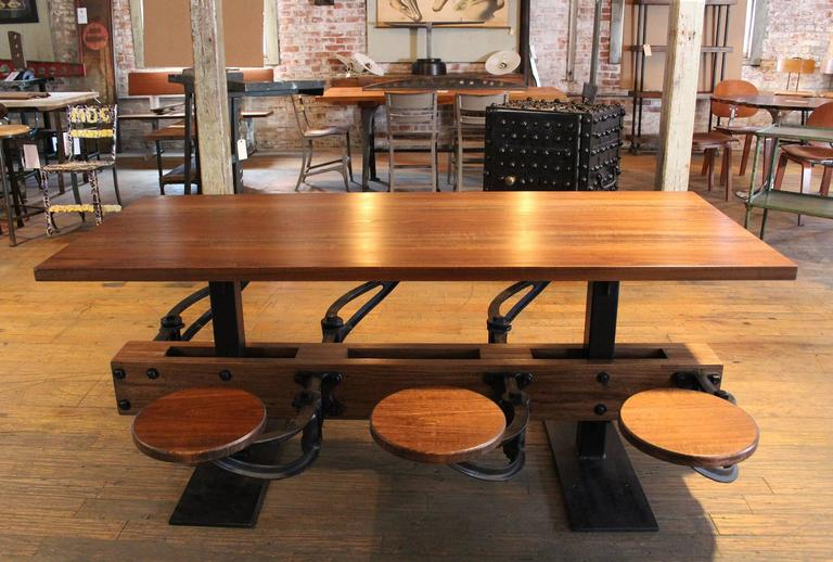 vintage industrial iron cafeteria swing out seat dining kitchen table set for sale at 1stdibs. Black Bedroom Furniture Sets. Home Design Ideas