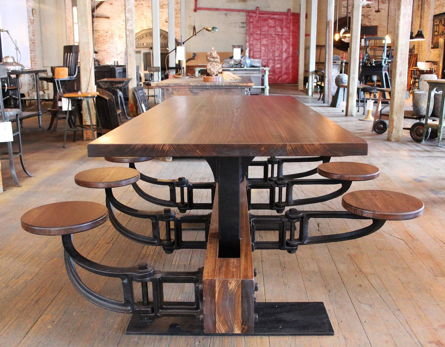 Vintage Industrial Iron Cafeteria Swing Out Seat Dining