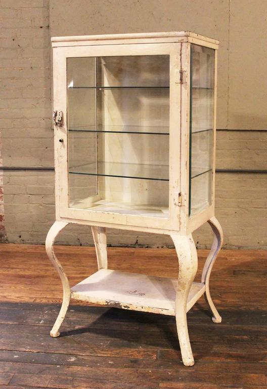 Queen Anne Medical Cabinet Antique Metal and Glass Apothecary, Vintage  Industrial Storage For Sale - Medical Cabinet Antique Metal And Glass Apothecary, Vintage