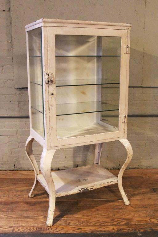 Medical Cabinet Antique Metal and Glass Apothecary, Vintage Industrial  Storage For Sale 3 - Medical Cabinet Antique Metal And Glass Apothecary, Vintage