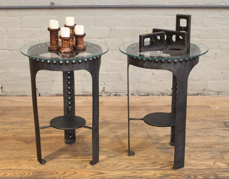 End, Side Tables, Vintage Industrial Brutalist Riveted Steel, Metal and Glass  For Sale 1