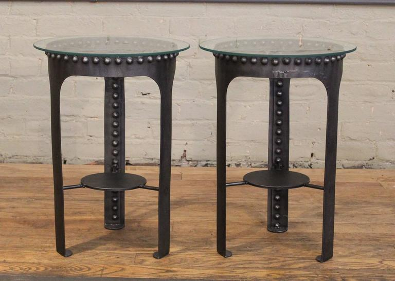 American End, Side Tables, Vintage Industrial Brutalist Riveted Steel, Metal and Glass  For Sale