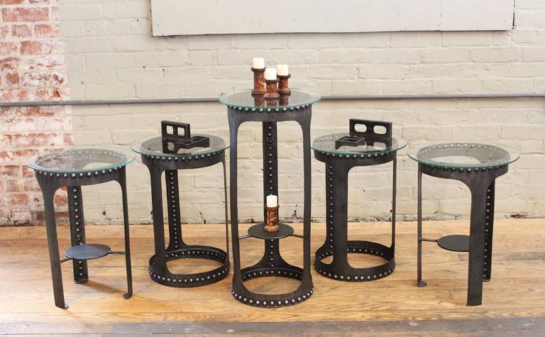 End, Side Tables, Vintage Industrial Brutalist Riveted Steel, Metal and Glass  For Sale 3