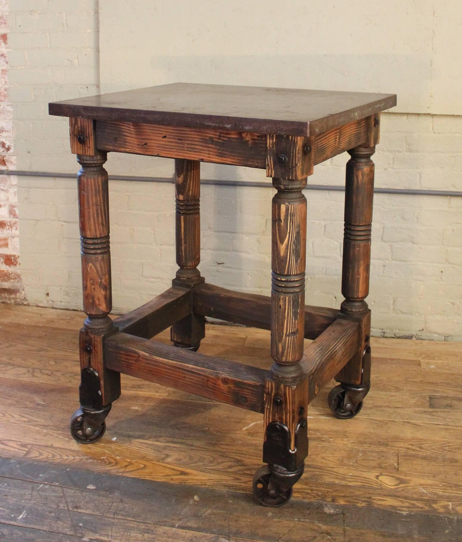 Bar Cart Cast Iron Steel And Wood Printer S Turtle Table Rolling Serving For At 1stdibs