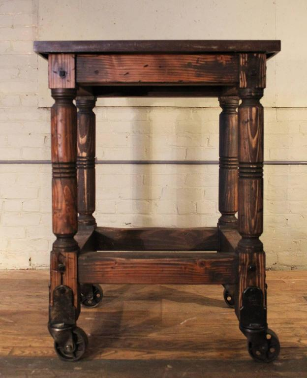 American Bar Cart Cast Iron Steel and Wood Printer's Turtle Table, Rolling Serving For Sale