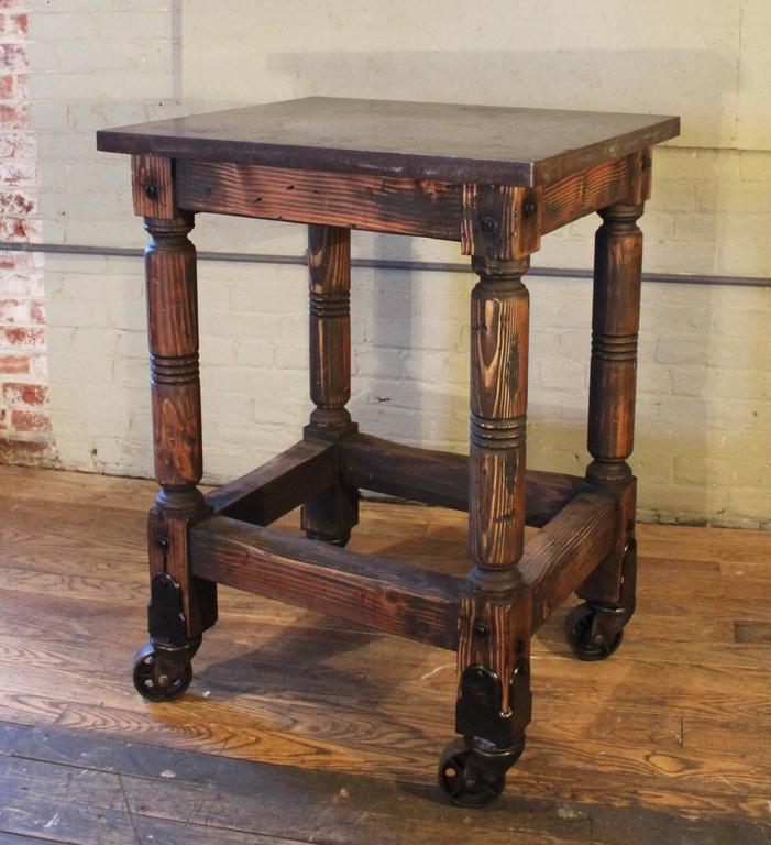 Bar Cart Cast Iron Steel and Wood Printer's Turtle Table, Rolling Serving For Sale 3
