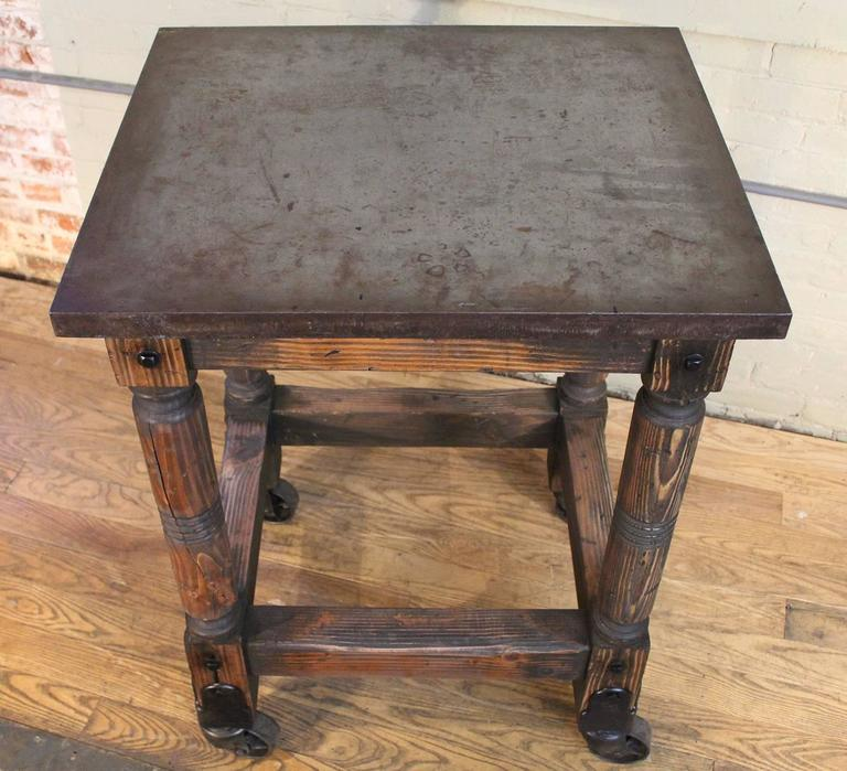 Bar Cart Cast Iron Steel and Wood Printer's Turtle Table, Rolling Serving For Sale 4