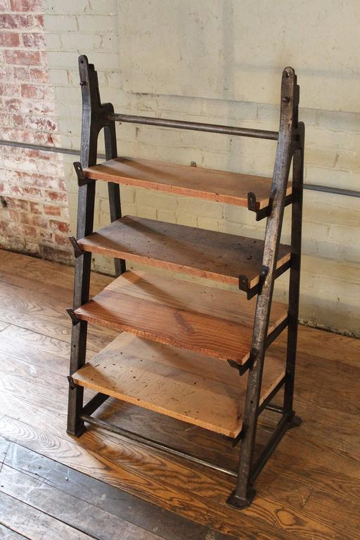 Custom Factory Vintage Cast Iron Wood Shelving Storage Unit With Four Shelves Each