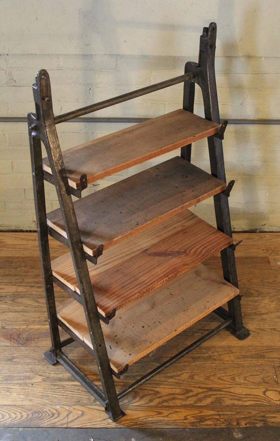 Vintage Industrial Custom Factory Cast Iron Wood Shelving