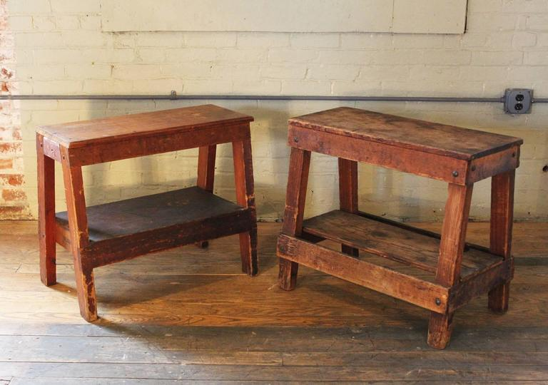 Pair Of Rustic Wood Factory Shop Work Benches, Side, End Tables, Saw Horse