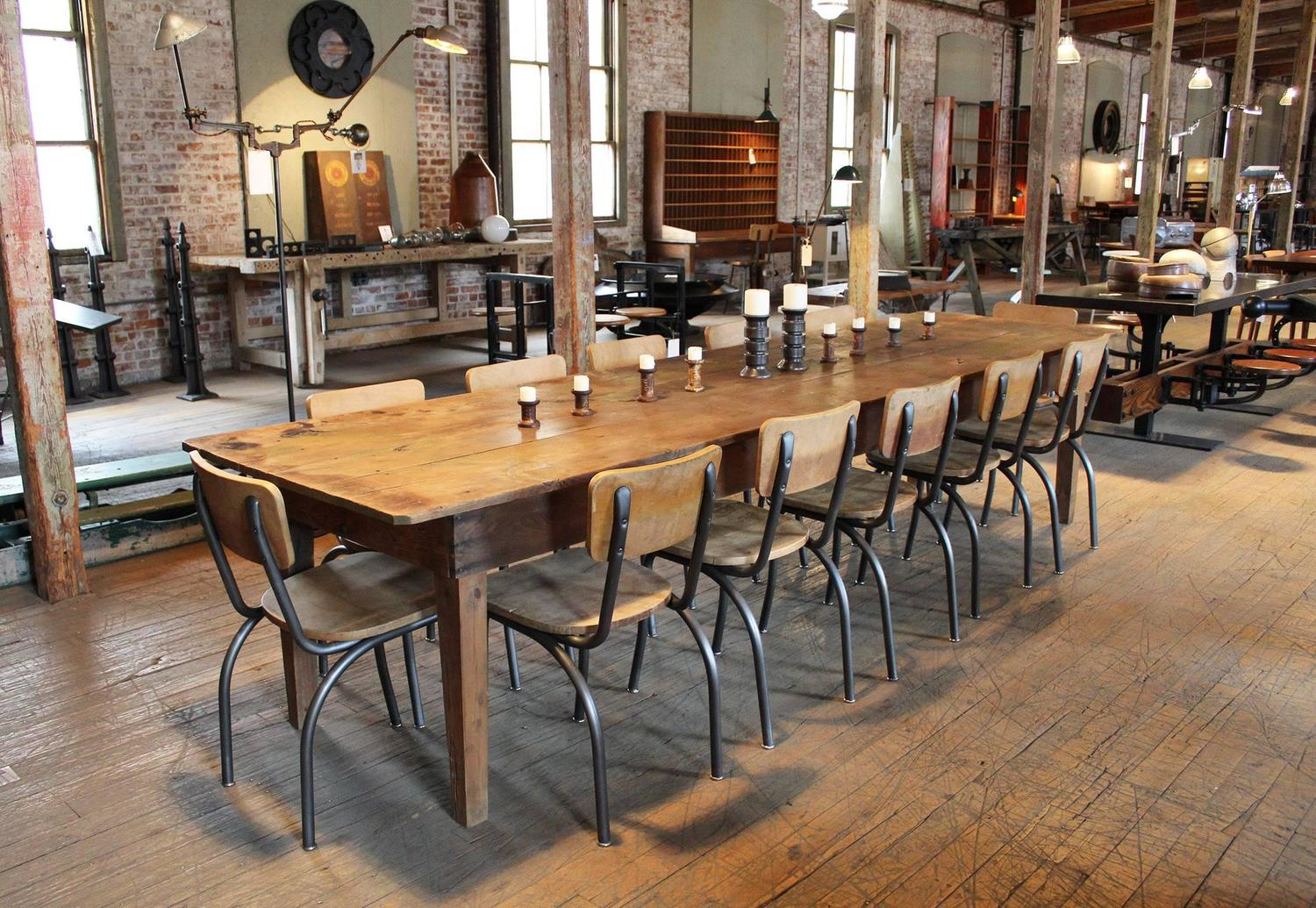 Rustic wooden pine dining harvest farm conference for 9 foot dining room table