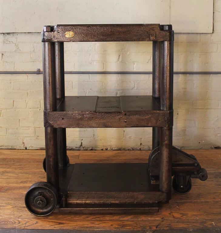 Steel Table Rolling Cart Vintage Industrial Three Tier