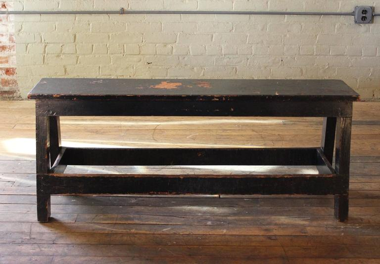 Amazing Vintage Industrial Low Work Bench, Wooden Table 3