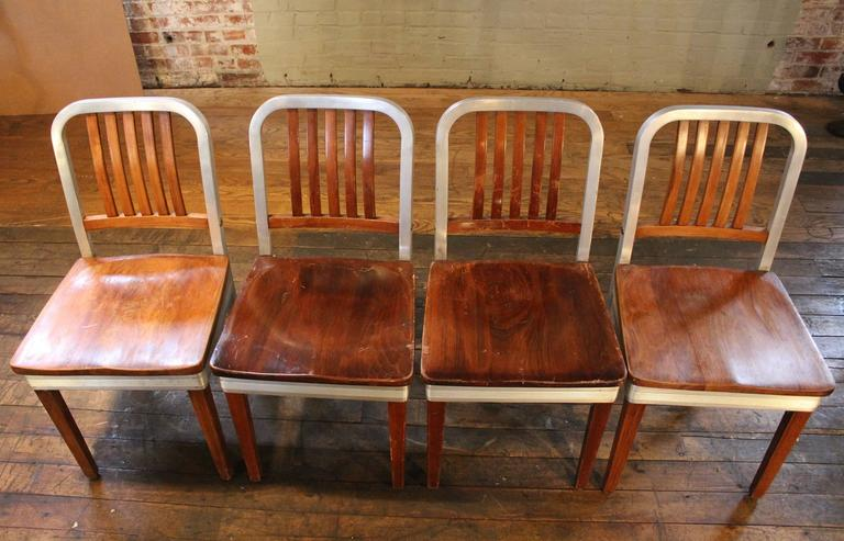 Set Of Eight Vintage Wood And Metal Aluminium Side Shaw Walker