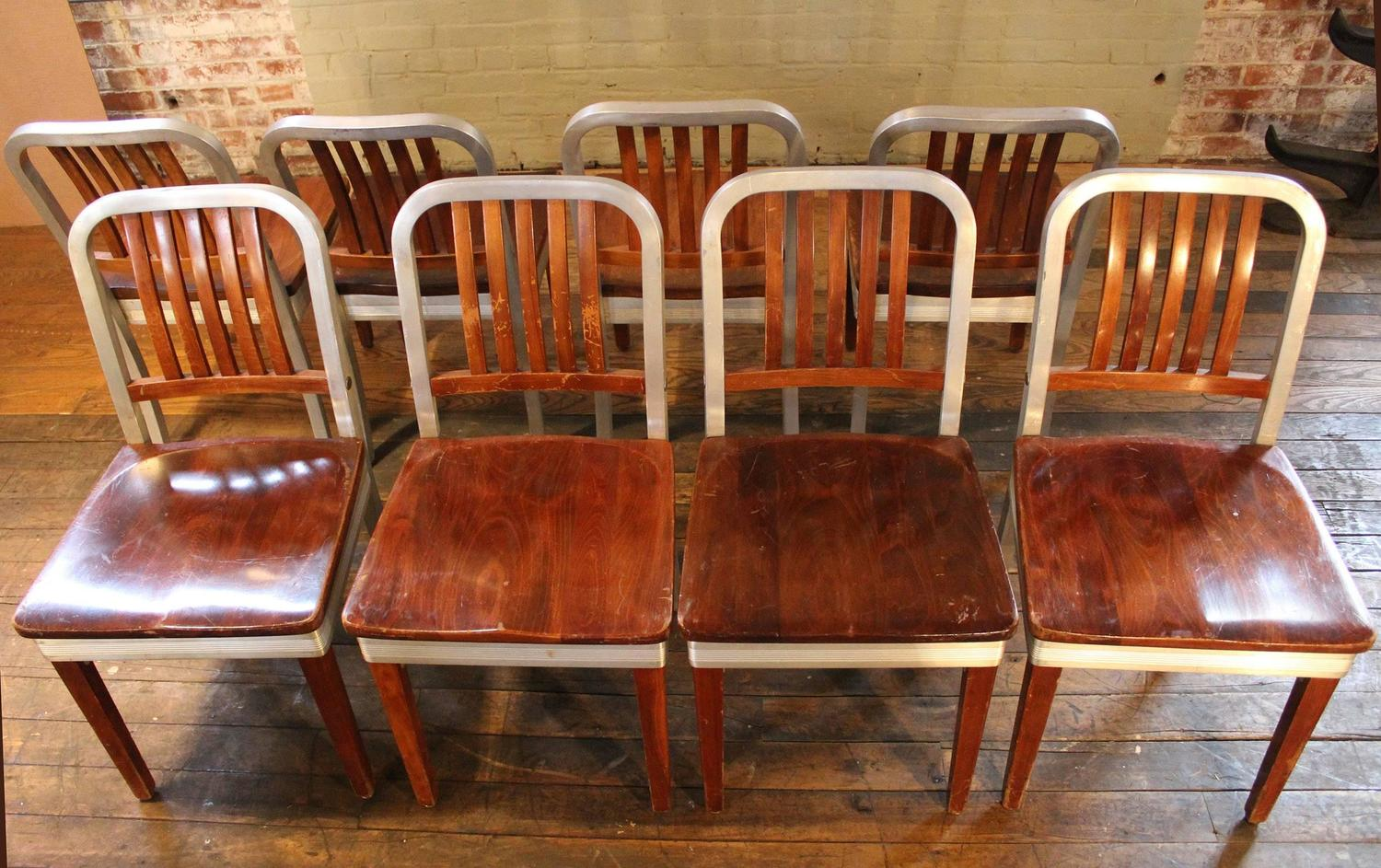 Set Of Eight Vintage Wood And Metal Aluminium Side Shaw Walker Dining Chairs
