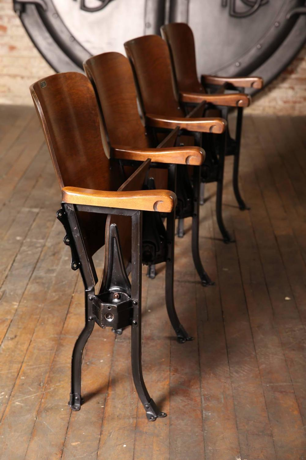 Vintage Original Wood And Steel Folding Theater Seats Seating Chairs For Sa