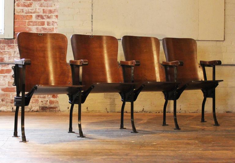 Vintage Original Wood And Steel Folding Theater Seats