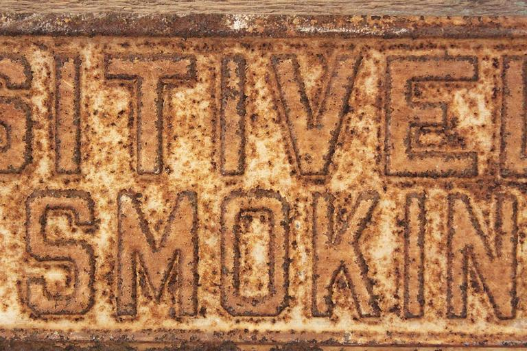 POSITIVELY NO SMOKING Vintage Metal Sign on Painted Wood Block For Sale 1