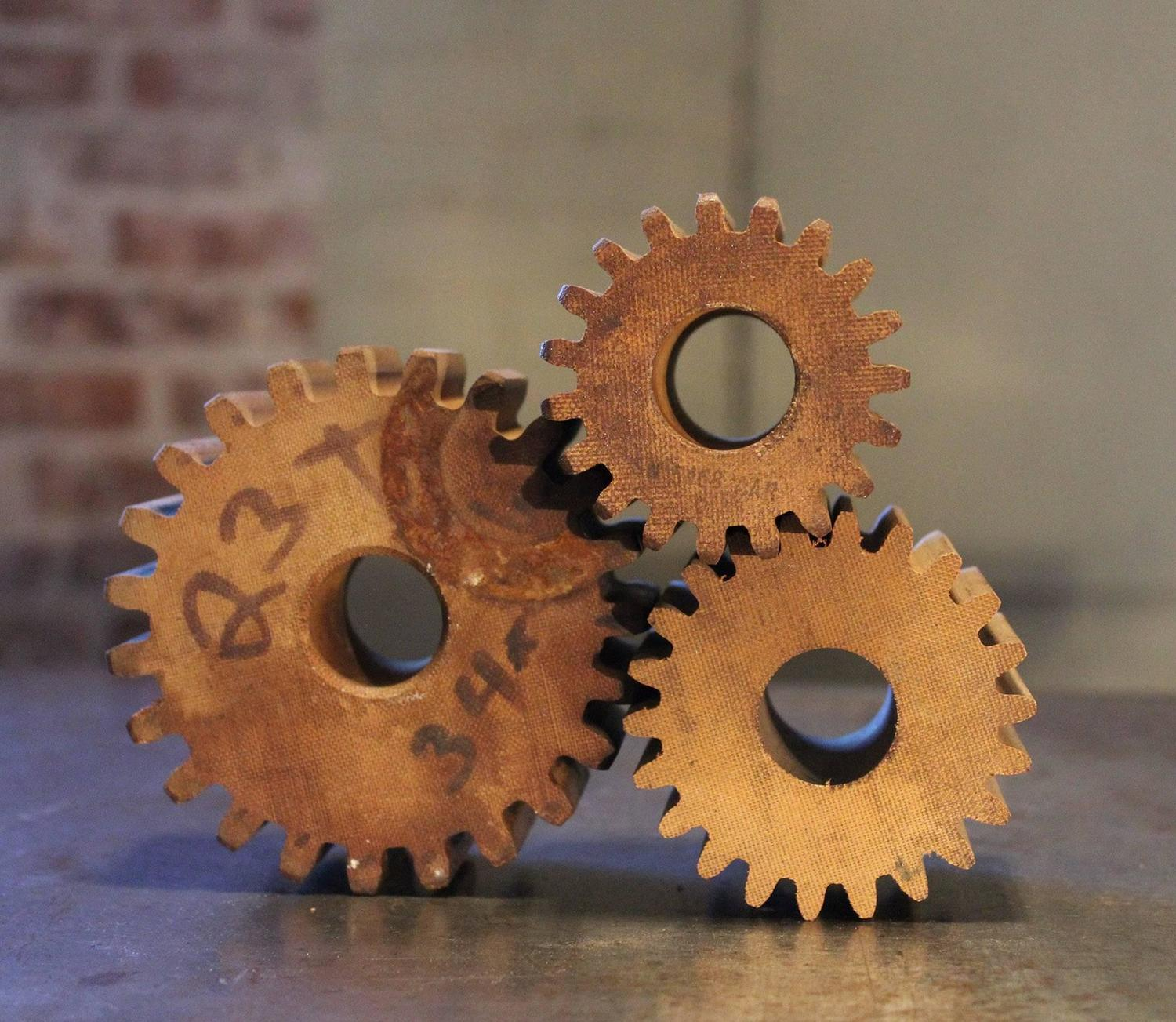 Vintage Industrial Machine Age Wooden Gear Molds Candle