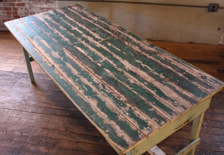20th Century Vintage Rustic Farm Distressed Folding Dining Work Table Painted Wood Industrial For Sale