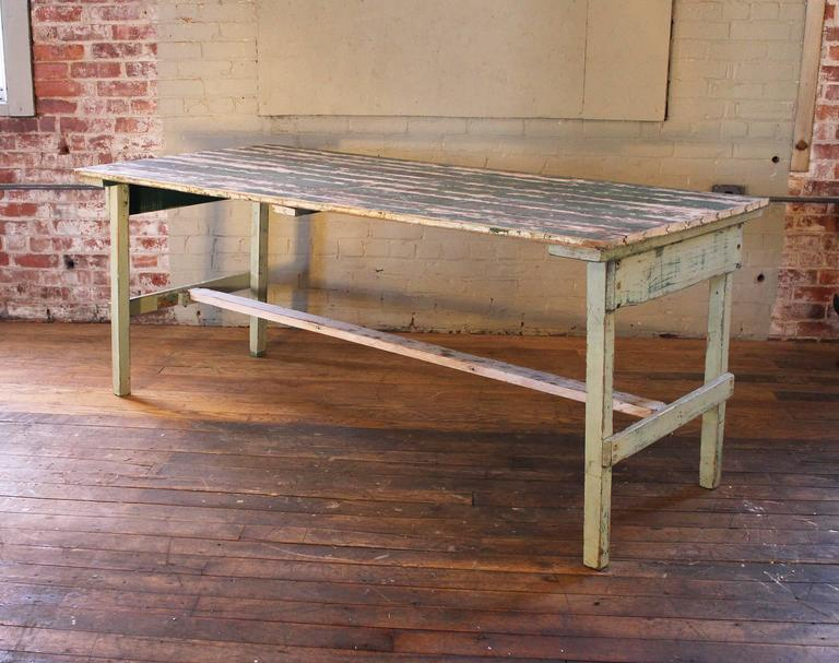 American Vintage Rustic Farm Distressed Folding Dining Work Table Painted Wood Industrial For Sale