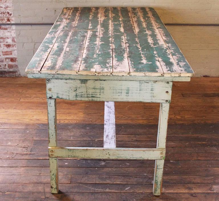 Vintage Rustic Farm Distressed Folding Dining Work Table Painted Wood Industrial In Distressed Condition For Sale In Oakville, CT