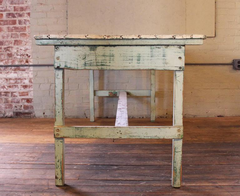 Vintage Rustic Farm Distressed Folding Dining Work Table Painted Wood Industrial For Sale 2