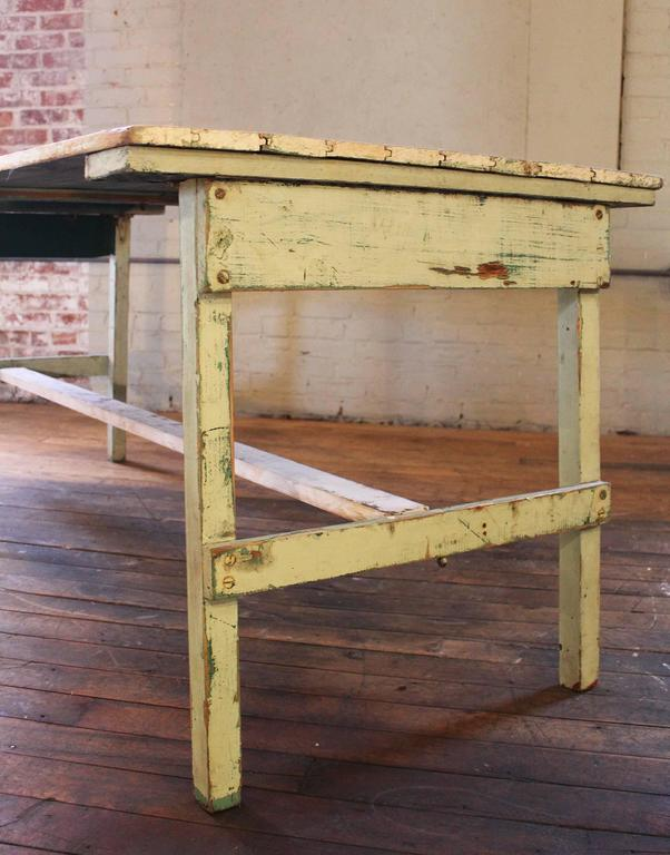 Vintage Rustic Farm Distressed Folding Dining Work Table Painted Wood Industrial For Sale 3