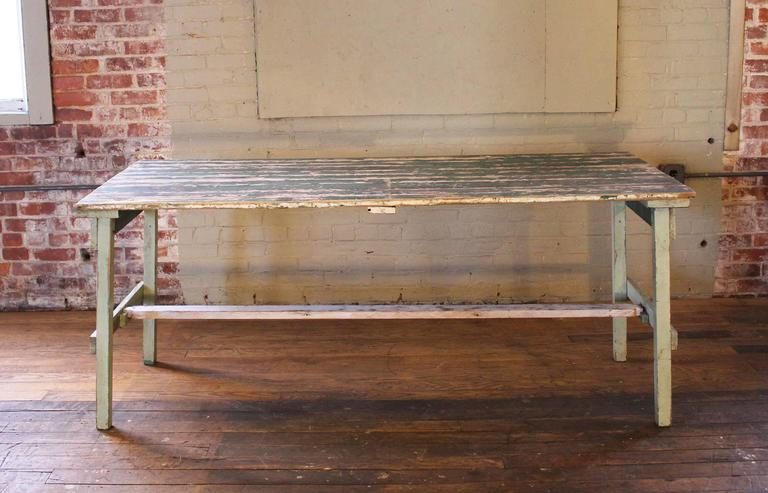 Vintage Rustic Farm Distressed Folding Dining Work Table Painted Wood Industrial For Sale 4