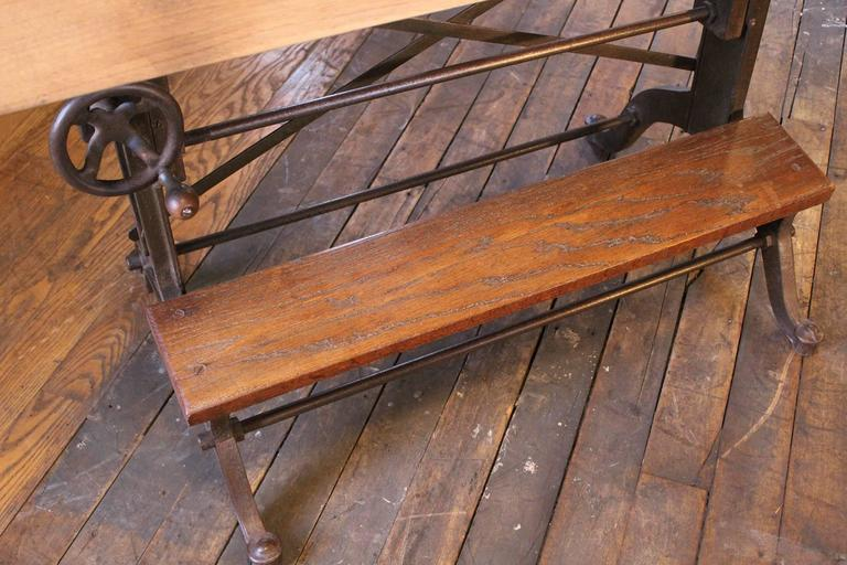 Exceptional Drafting Table Vintage Industrial Cast Iron And Wood Frederick Post  Adjustable 2