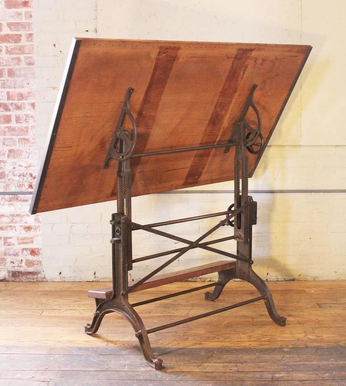 Vintage Industrial Cast Iron And Wood Frederick Post Adjustable Drafting Tabl
