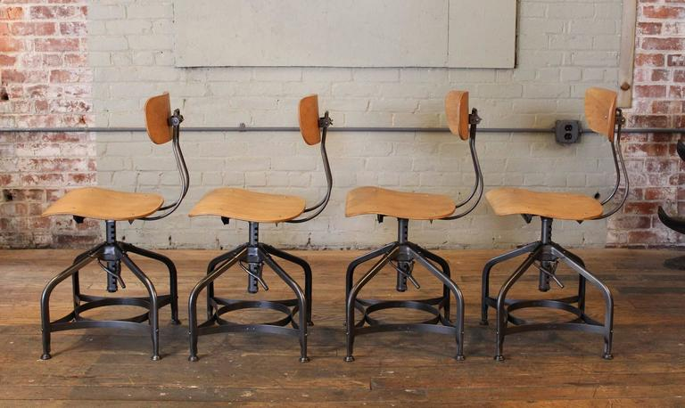 Authentic Toledo Stools Set Of Four Bent Plywood And