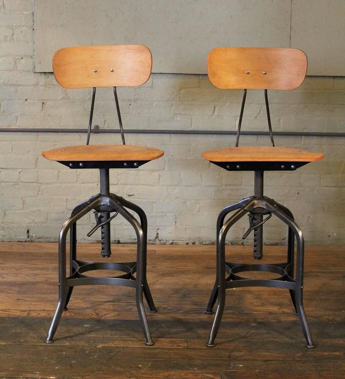 Pair Bar Stools - Bent Plywood Vintage Industrial Toledo Adjustable Chairs 3 & Pair Bar Stools - Bent Plywood Vintage Industrial Toledo ... islam-shia.org