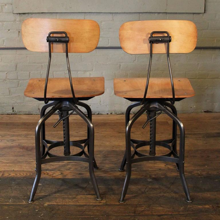 Good Pair Of Bent Plywood And Steel, Metal Vintage Industrial Toledo Adjustable  Swivel Bar Stools,