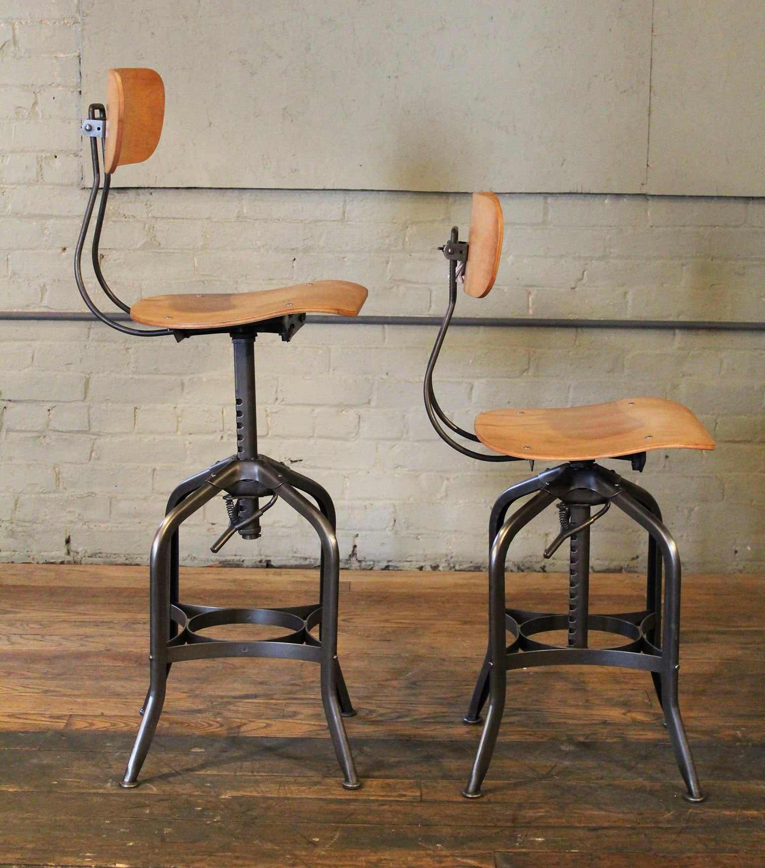 Excellent Pair Bar Stools Bent Plywood Vintage Industrial Toledo Adjustable Chairs Creativecarmelina Interior Chair Design Creativecarmelinacom