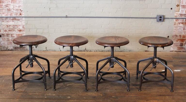 Steampunk Vintage Industrial Adjustable Toledo Wood Metal Factory Shop  Stools 2