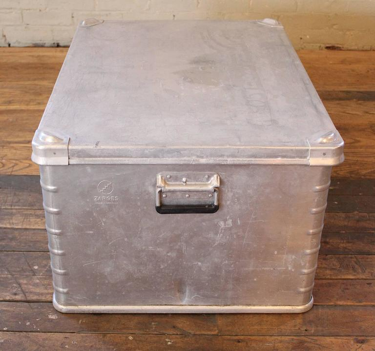 Vintage industrial aluminium metal box storage trunk coffee table chest for sale at 1stdibs Metal chest coffee table