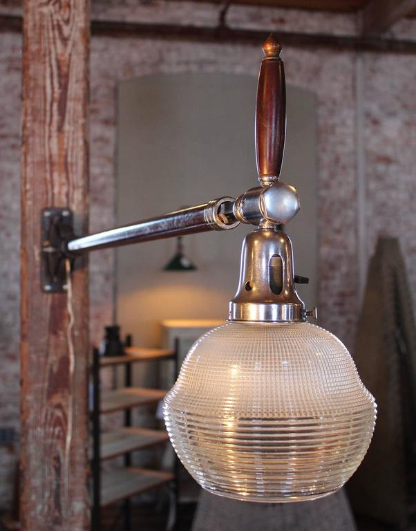 Wall Mounted Glass Lights : Wall Mounted Light, Lamp - Vintage Burton Adjustable Telescopic Ribbed Glass For Sale at 1stdibs