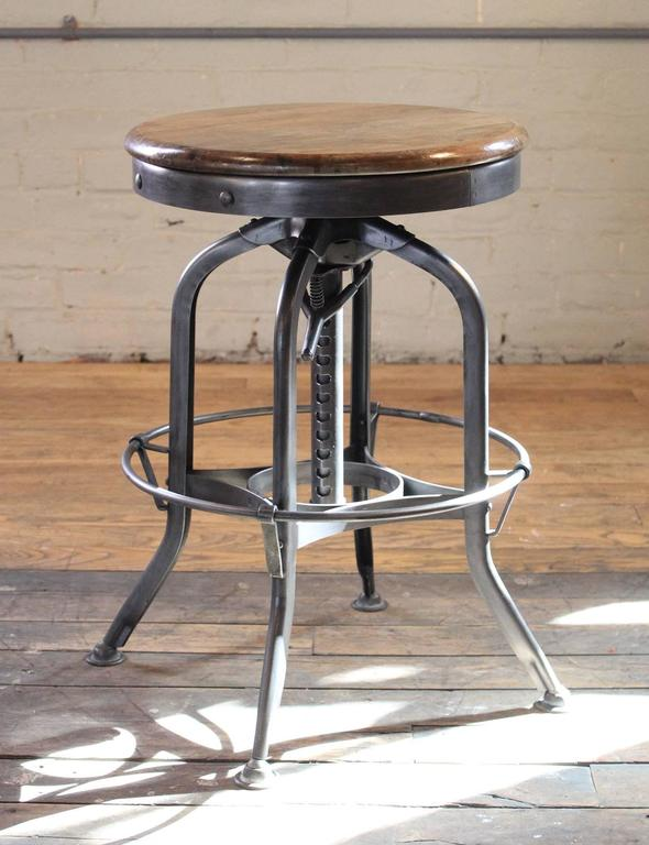 Original Vintage Industrial Toledo Backless Wood and Metal Adjustable Bar Stool 2