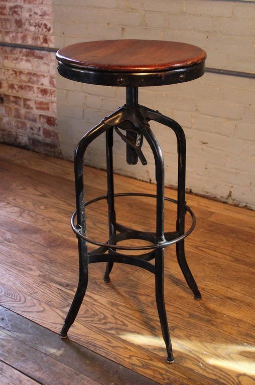 Original Vintage Industrial Toledo Backless Wood And Metal