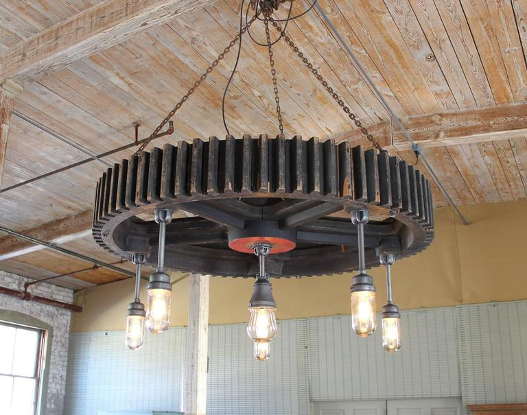 Chandelier - Vintage Industrial Pattern Wood and Glass Light Hanging ...