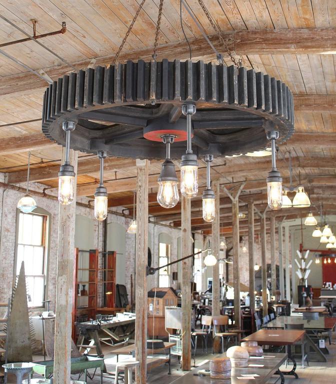 American Bespoke Chandelier - Industrial Wooden Gear Pattern & Explosion Proof Lights For Sale
